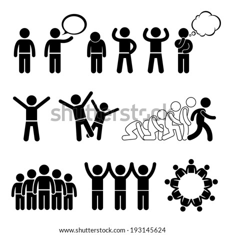 Children Group Pose Welfare Rights Stick Figure Pictogram Icon Cliparts - stock photo
