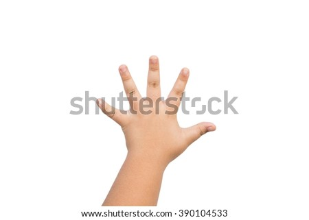children hand is mean to say hi, five, hand up isolated on white background