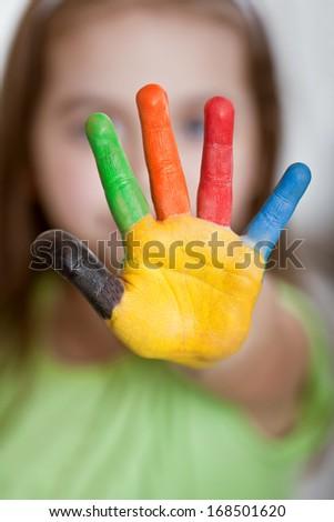 Children hand paint - stock photo