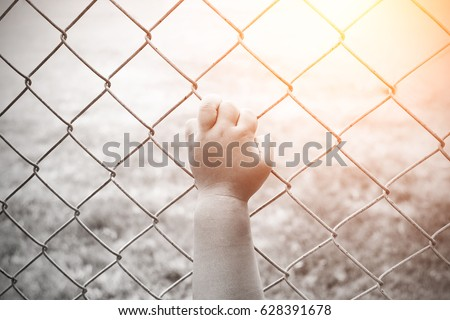 children hand with steel cage