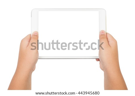 children hands holding a tablet touch computer with white screen, isolated on white background - stock photo
