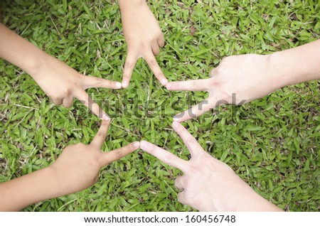 Children hands in star shape with green grass background  - stock photo