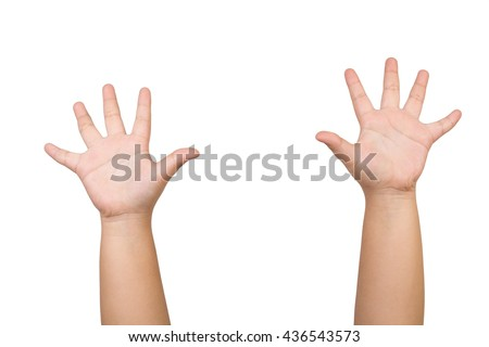 children hands is showing ten fingers isolated on white background