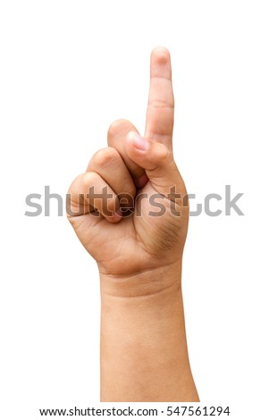 children hands show the number one isolated on a white background with clipping path