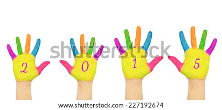 Children hands with numerals on the palms forming number 2015. Painted colorful paints. Isolated on white background. The symbol of the new year - stock photo