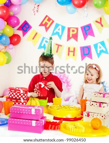 Children happy birthday party . - stock photo