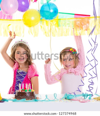 children happy birthday party girls with balloons and chocolate cake - stock photo