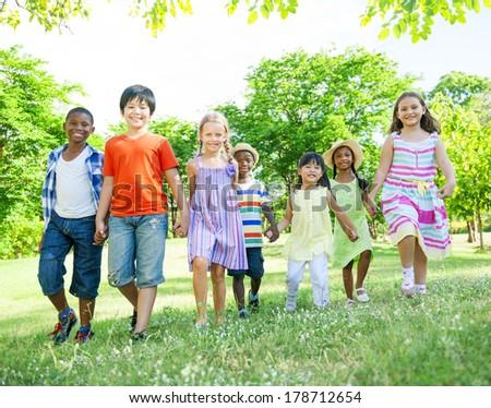 Children Having Fun in the Park - stock photo