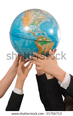 Children hold globe.Metaphor.