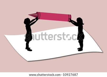 children holding large crayons - stock photo