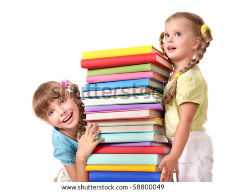 Children holding pile of book. Isolated. - stock photo