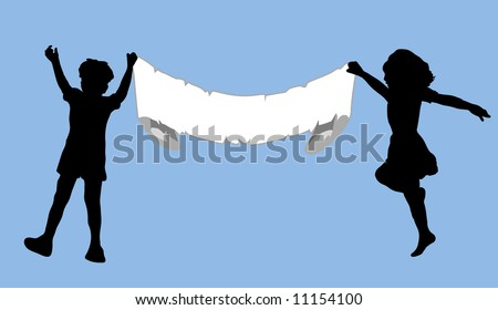 children holding up blank sign