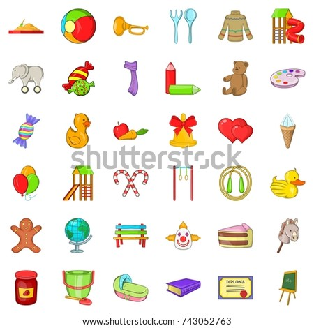 children icons set cartoon style of 36 children icons for web isolated on white background - Cartoon Image Of Children
