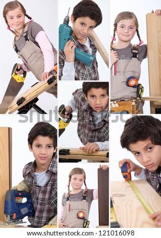 Children imitating adults - stock photo