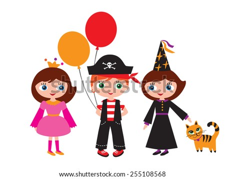 Children in carnival costumes. Princess, pirate and a witch with a cat. Halloween, Christmas, New Year, birthday, holiday, party. - stock photo