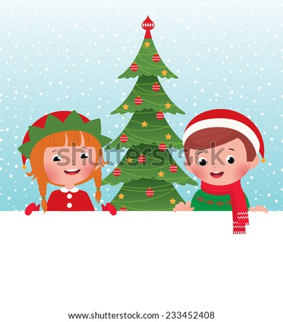 Children in Christmas Costumes elves and Santa Claus peeping from behind placard/Christmas elf and Santa Claus and white banner/Stock illustration of kids in christmas costume and white banner - stock photo