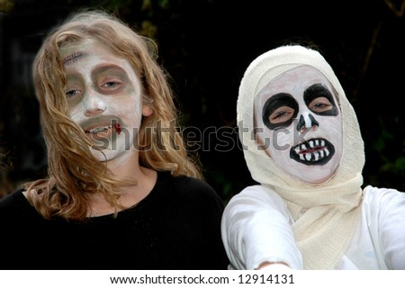 children in scary costumes - stock photo