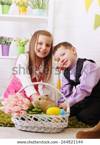 children in the interior decorations to the day of Easter