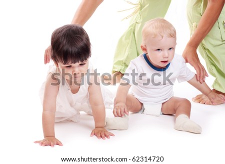 children isolated on white - stock photo