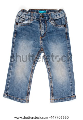 children jeans trousers isolated on a white background - stock photo
