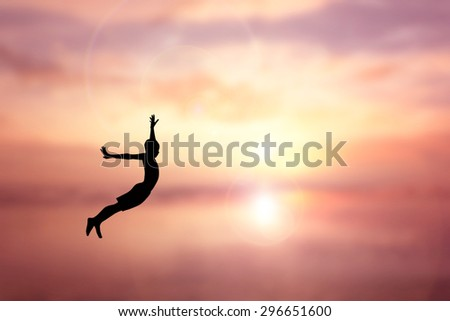 Children Jumping silhouette Sunset background