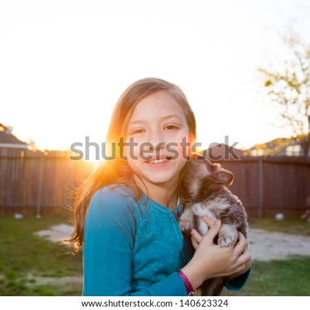Children kid girl playing with puppy dog hairy chihuahua in backyard sunset - stock photo