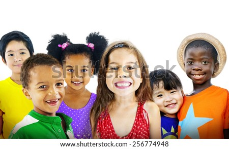 Children Kids Diversity Friendship Happiness Cheerful Concept - stock photo