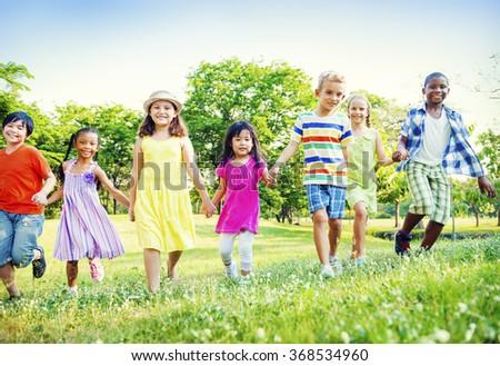 Children Kids Friendship Walking Happiness Concept - stock photo