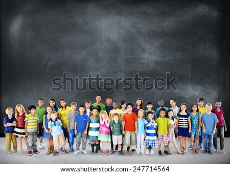 Children Kids Happiness Cheerful Childhood Youth Concept - stock photo