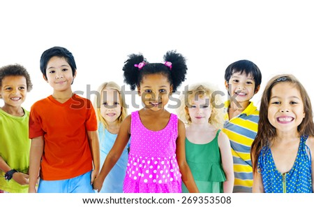 Children Kids Happiness Multiethnic Group Cheerful Concept - stock photo