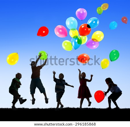 Children Kids Happiness Multiethnic Group Cheerful Playing Concept - stock photo