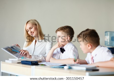 children learn in school. training students, classroom