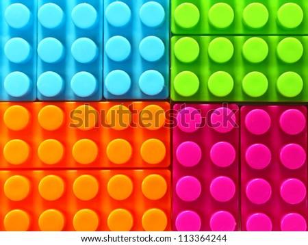 Children lego brick toy background - stock photo