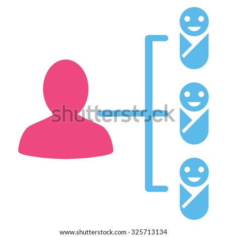 Children Links glyph icon. Style is bicolor flat symbol, pink and blue colors, rounded angles, white background.