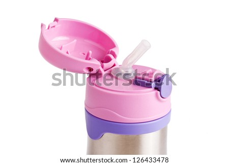 Children metal thermos with straw, isolated on white - stock photo