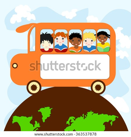 Children of different races in a school bus traveling on the planet - stock photo