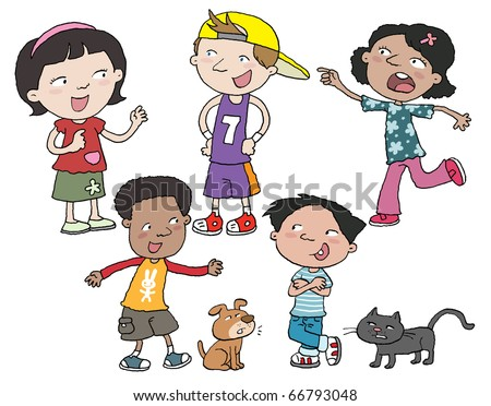 Children of various races are talking . - stock photo