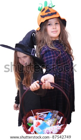 children on halloween - stock photo