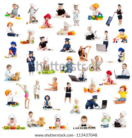 children or kids or  babies playing professions isolated on white