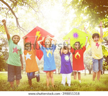 Children Outdoors Playing Cheerful Together Concept - stock photo