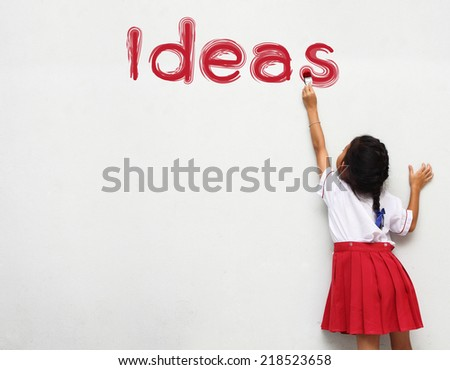 children painting ideas text on wall - stock photo
