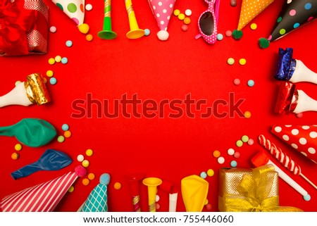 Children Party Background Birthday Colorful Frame With Cap And Whistle On Red