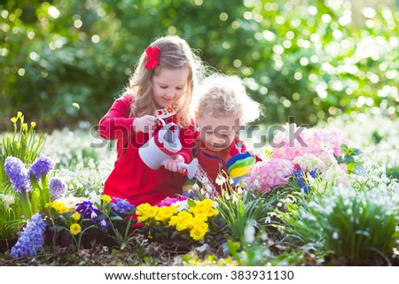 Children planting spring flowers in sunny garden. Little boy and girl gardener plant hyacinth, daffodil, snowdrop in flower bed. Gardening tools and water can for kids. Family working in the backyard. - stock photo