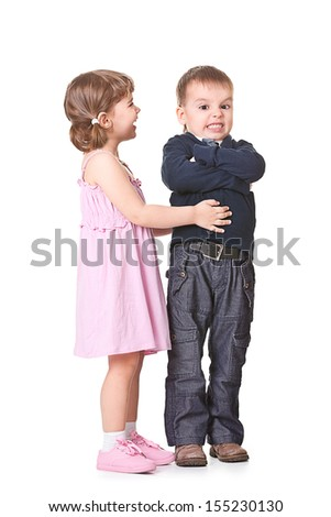 children play a married couple on a white background - stock photo