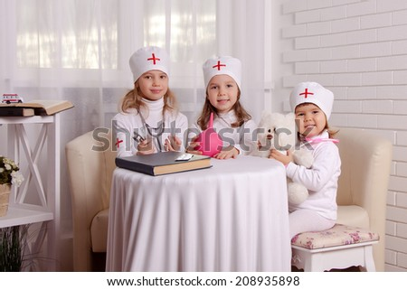children play in medical, hospital - stock photo