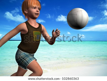 CHILDREN PLAY ON BEACH
