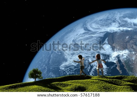 Children play on the grass against the sky