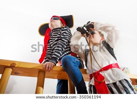 children play pirates - stock photo