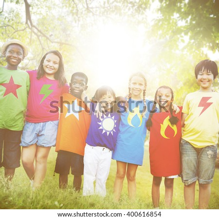 Children Playful Enjoyment Friendship Concept - stock photo