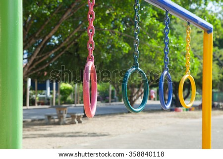 Children playground park in school at Thailand.(Focus on pink color) - stock photo
